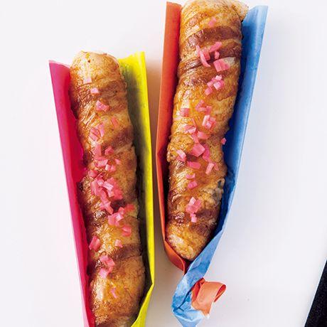 紅生姜をトッピング♡ 簡単にバラ肉巻き巻き! 肉巻き スティック おにぎり♪