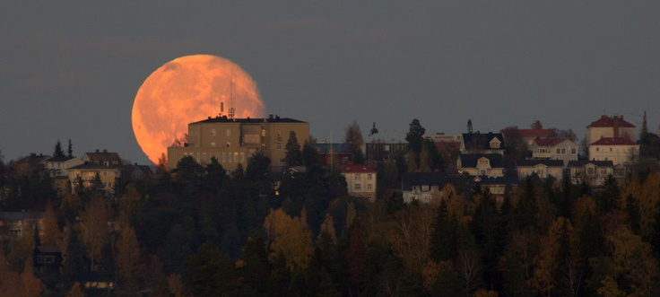 Full moon, in Tampere, Finland.