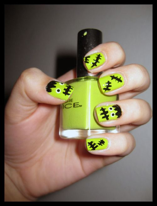 .: Monsters Nails, Halloween Parties, Holiday Halloween, Frankenstein Monsters, Hair Nails Stuff, Halloween Nails Art, Frankenstein Nails, Nails Polish, Monsters Mashed