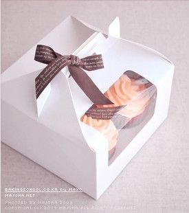 17.7x17.7x11cm cupcake window boxes cake packaging box