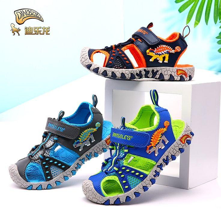 DINOSKULLS Children's Shoes Boys Sandals Cut-Outs Closed Toe Summer Fashion Kids Casual Beach Sandals Anti-slip 27#~34