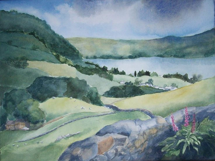 From Kirkstone Pass to Lake Windermere.  12x16 in.  Watercolour