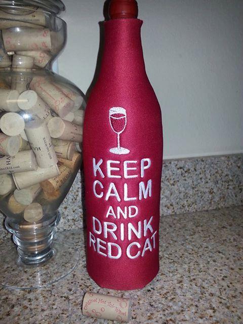 Keep Calm and Drink Hazlitt Red Cat Wine Bottle Koozie