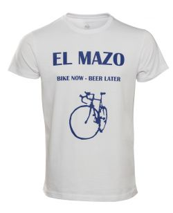 Camiseta Bike Now Beer Later blanca