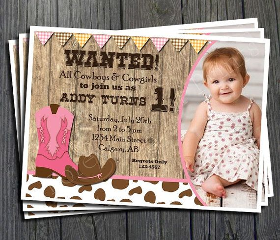 Cowgirl Birthday Invitation - FREE Thank You Card included on Etsy, $15.00