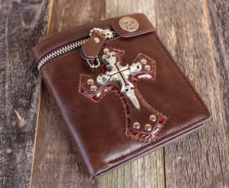 Leather Rocker Skull/Cross-Themed Men's Wallet — FREE SHIPPING — Limited Quantities – Wallet Hipster
