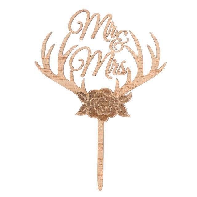 Wood Wedding Cake Toppers (Rustic /Vintage /Country Themes) [Mr Mrs /Love /Just Married]