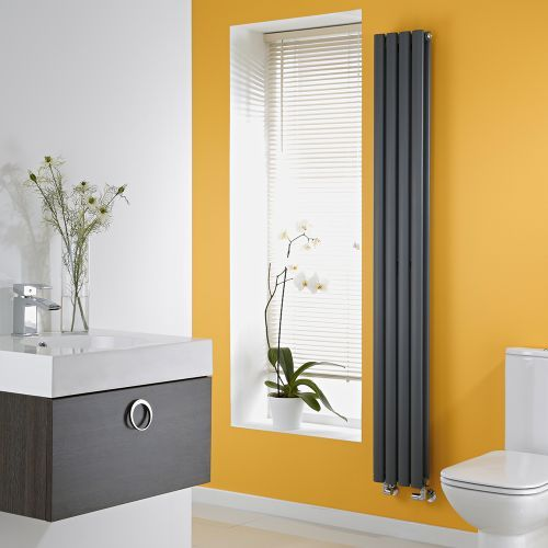 Anthracite Space-Saving Vertical Designer Double Radiator 1780mm x 236mm (Double Panel) - Image 1