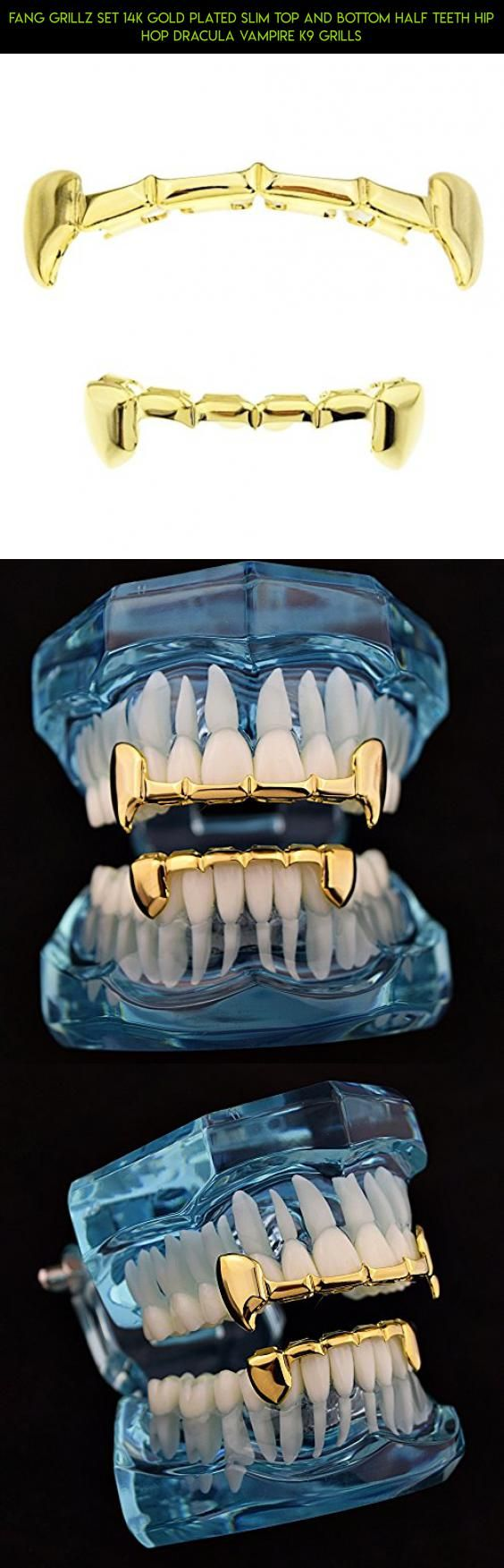 Fang Grillz Set 14k Gold Plated Slim Top And Bottom Half Teeth Hip Hop Dracula Vampire K9 Grills #fpv #tech #technology #kit #teeth #plans #racing #gadgets #camera #your #products #bottom #grills #shopping #for #drone #parts