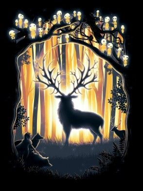 miyazaki ghibli mononoke princess deer wolf forest spirit san magic trees woods fantasy anime