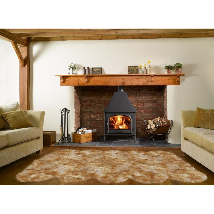Dynasty Natural 10-Pelt Luxury Long Wool Sheepskin White with Brown Tips Shag Rug - 5'5 x 8'6