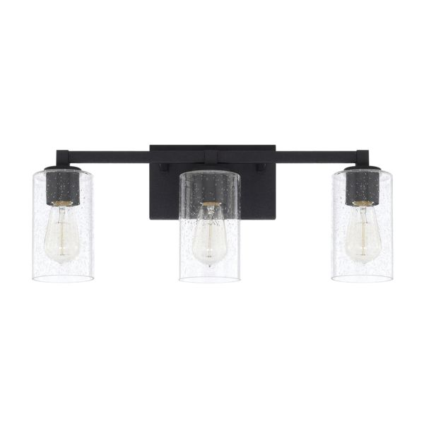 FREE SHIPPING. Purchase the transitional 3 Light Ravenwood Vanity light in Black Iron with clear seedy glass shades for your simple clean bathroom lighting today at lightingconnection.com. Capital Lighting 119831BI-435