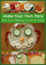 All About Me Edible Face - Healthy Lunch or Snack that kids can make themselves.  Great creative and eat a well balanced meal at the same time.