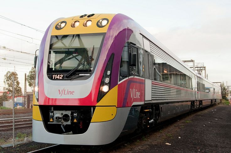 A slick V/Line train, rolling stock provided by Bombardier.