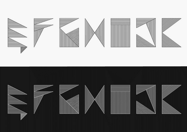 Stripe Alphabet - Experimental typography which idea was to build alphabet using the most simple forms - stripes closed in a shape of rectangle, by Nina Gregier