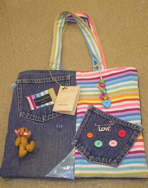 handmade rainbow denim bag by angelsandfishes