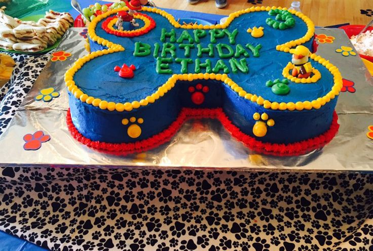 Paw Patrol Birthday Cake for 3 year olds!!  Dog bone cake