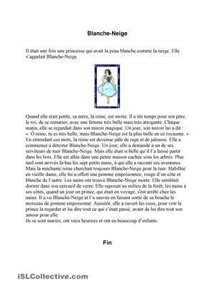 Blanche-Neige passé composé/imparfait fiche d'exercices - Fiches pédagogiques gratuites FLE