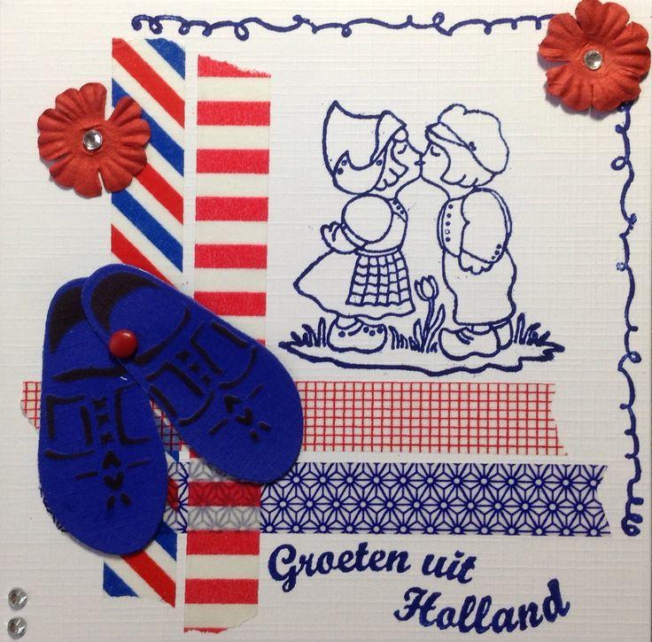 Groeten uit Holland met lief stelletje en rood/wit/blauw washi tape