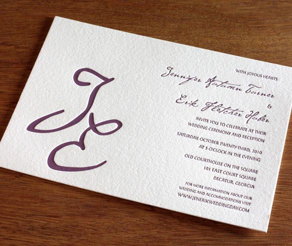 "monogram letterpress wedding invitation... Like the large letters and wording. Could put just an ""R"" on the RSVP"