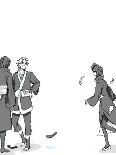 Konan running towards Nagato and Yahiko. This picture made me cry.