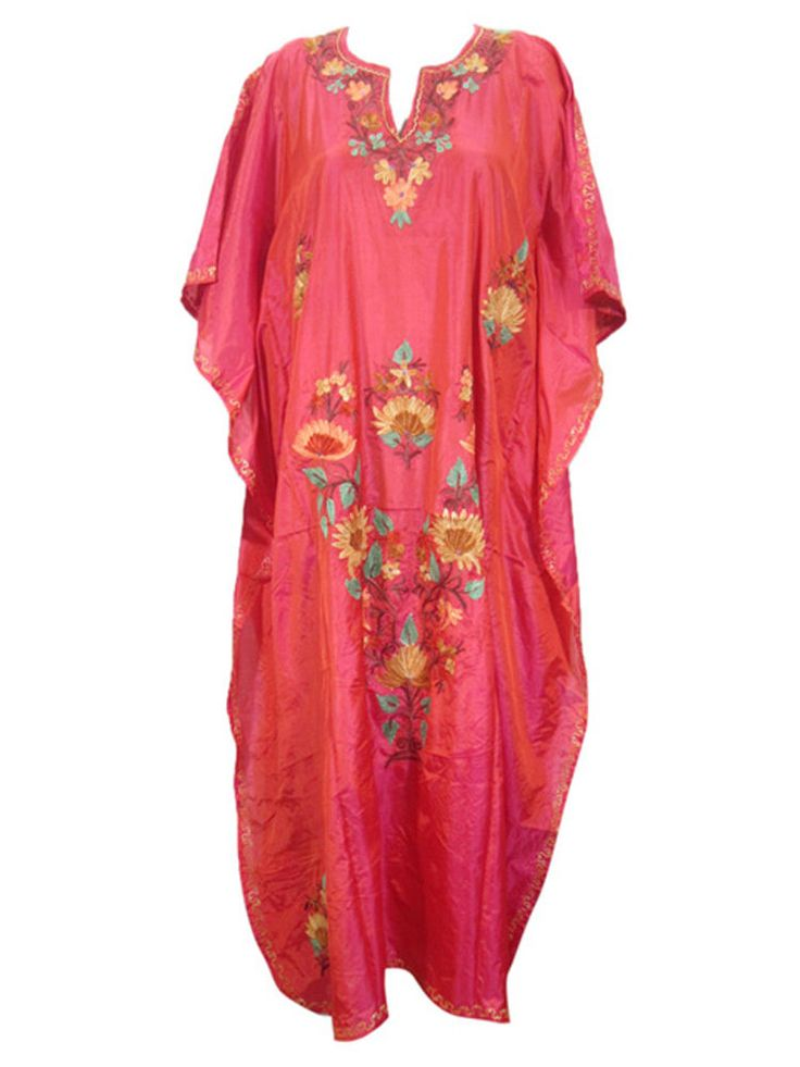 MUUMUU DRESS RED BOHO KASHMIRI EMBROIDERED KIMONO CAFTAN MAXI DRESS #mogulinterior #CaftanNighty #SummerBeach