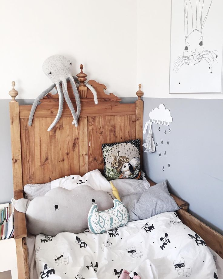 grey and white kids room
