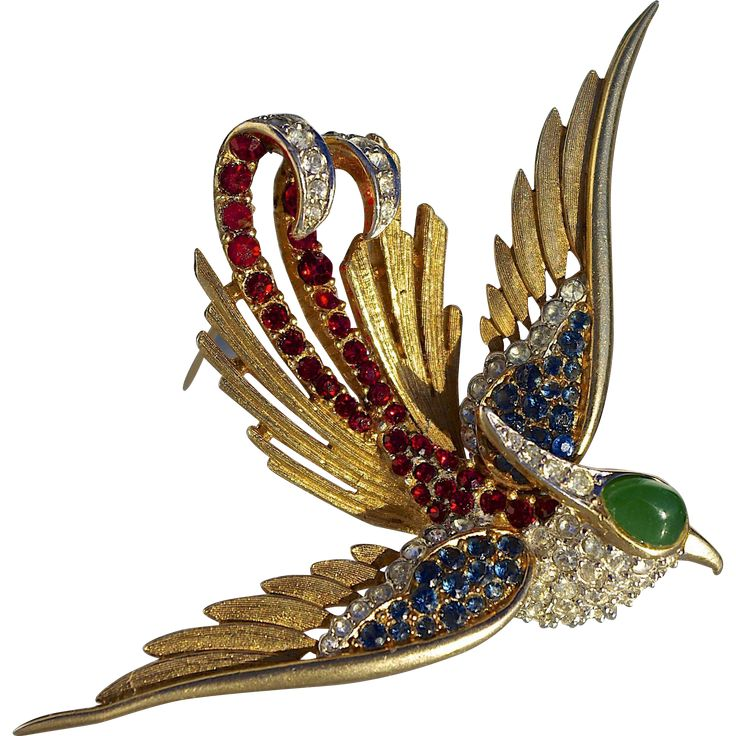 A+Rare+Vintage+1950s+Marcel+Boucher+Rhinestones+Bird+of+Paradise+Brooch+Pin