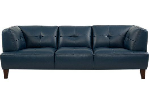 Villa Capri Blue Leather Sofa For The Home Blue Leather Sofa