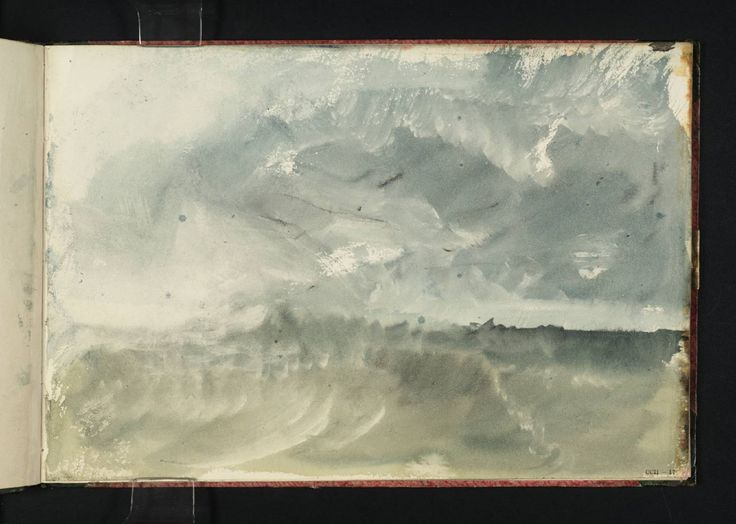 """Storm at Sea,"" from Ports of England Sketchbook, J. M. W. Turner, c. 1822-23, watercolor on paper. Tate collection."