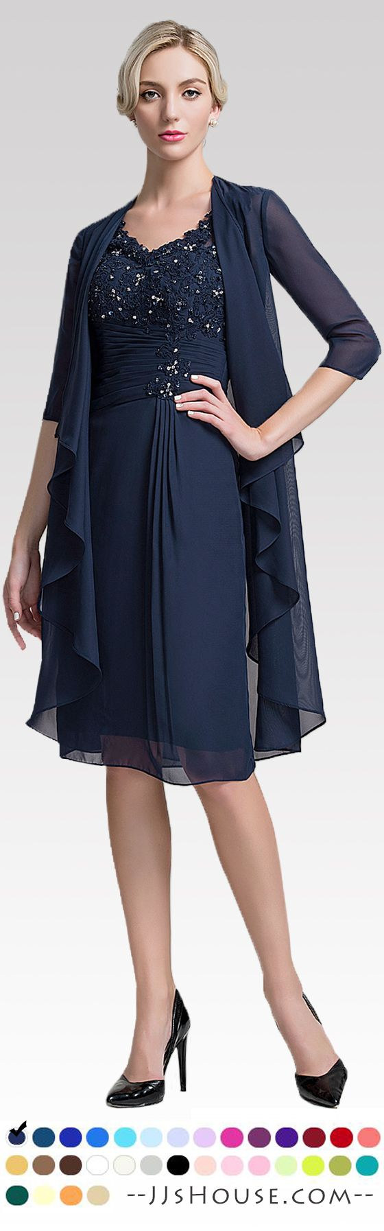 Sheath/Column V-neck Knee-Length Chiffon Mother of the Bride Dress With Ruffle Beading Sequins #JJsHouse