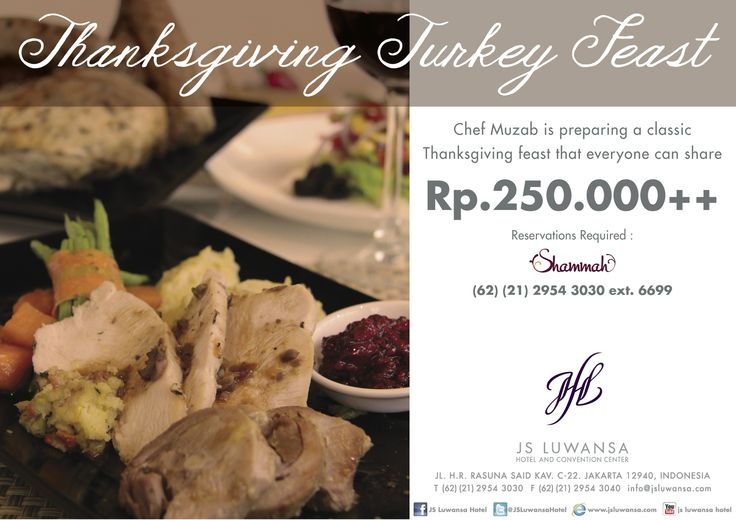 Thanksgiving Turkey Feast, Set Menu Rp. 250.000++ from Appetizer to Dessert only at Shammah #food #promo #thanksgiving