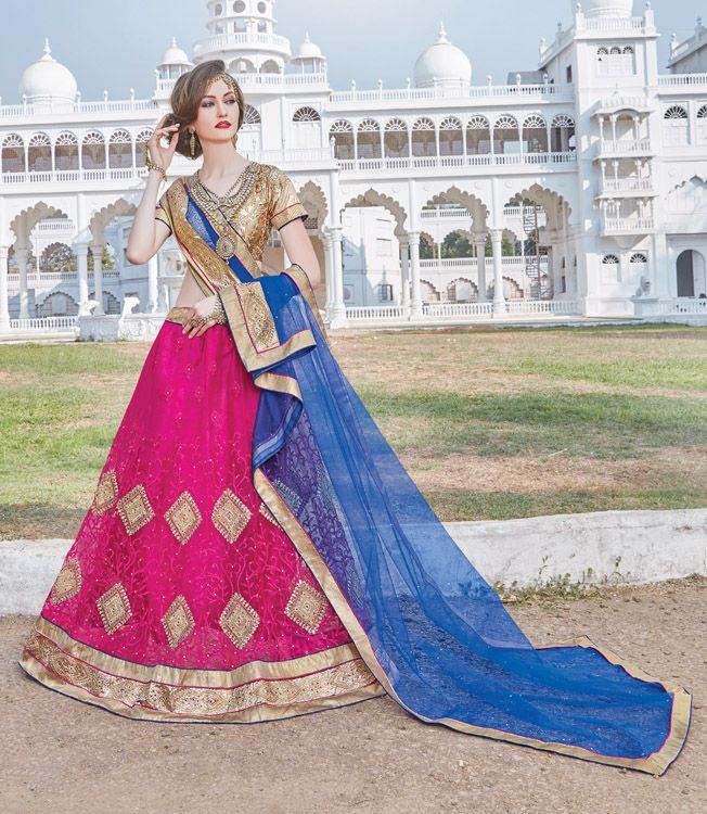 Rani Pink Printed With Embroidery Lehenga