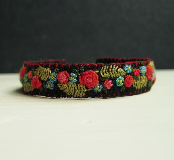 Boho Floral Embroidered Cuff Bracelet by Sidereal