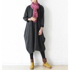2016 winter design dull gray baggy dresses plus size woolen shirt caftans