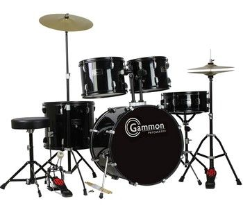 Gammon Drum Set Black Complete Full Size Adult Kit With Cymbals Sticks Hardware And Stool