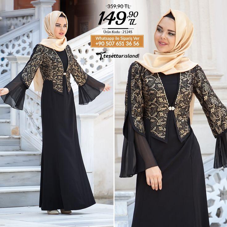 Tesettürlü Abiye Elbise - Siyah Elbise #tesettur #tesetturabiye