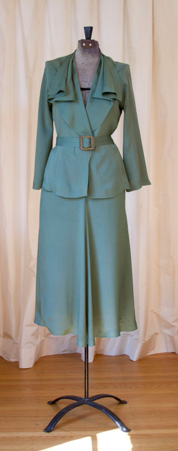 1930's Green Silk Art Deco Suit Set by GarbOhVintage on Etsy