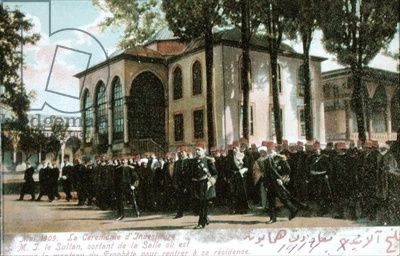 Postcard depicting the Investiture Ceremony of Sultan Mehmet V (1844-1918) May 1909 (coloured photo)