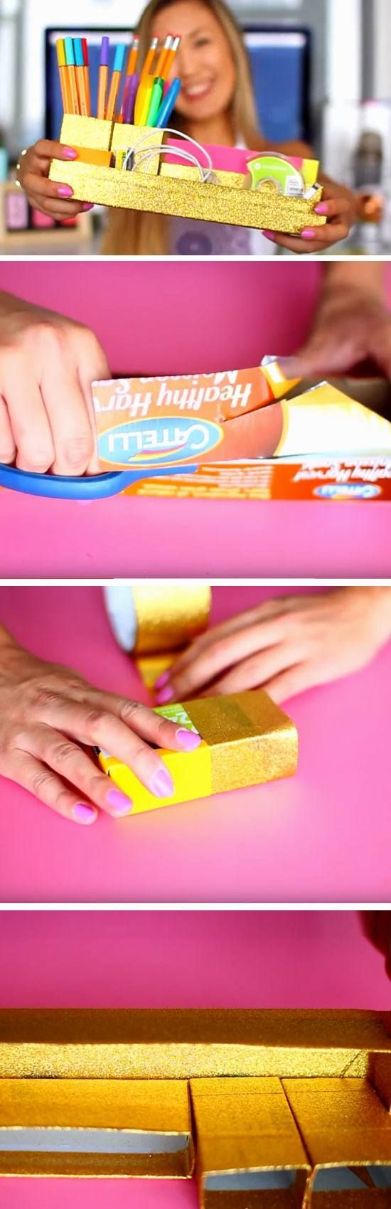 Toothpaste Boxes Make Great Stationary Holders | 18 DIY Dorm Room Organization Hacks for Teens that will keep you super tidy!
