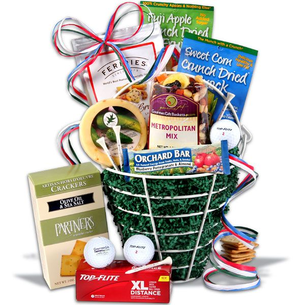 Golf Gift Basket Ingredients:· Golf Range Basket - Essential to making practice easy*Golf Balls - Sleeve of 3 - · Golf Tees - Golf tees  · Blueberry, Pomegranate & Almond Orchard Bar * 5 O'clock Crunch by Feridies - 6 oz. * Deli Style Hors D'oeuvre Crackers by Partners - 2 oz. * · Hot Pepper Round by Northwood's Cheese - 4 oz.* Metropolitan Trail Mix by GourmetGiftBaskets.com - 4 oz.* Sweet Corn Crunch Snack by Sensible Foods - 12 g*Fuji Apple Crunch Dried Fruit by Sensible Foods - 12 g