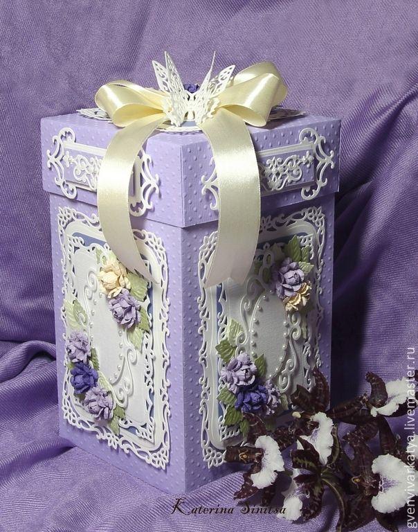 Купить Подарочная коробка - коробочка для подарка, цветы ручной работы, бумажные цветы, Декор, spellbinders, Paper box for gift