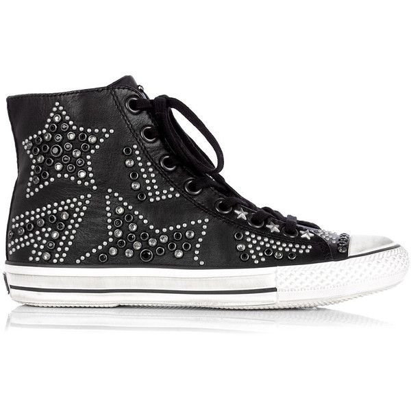 Ash Vibration Studed Leather High Top Trainer (125 AUD) ❤ liked on Polyvore featuring shoes, sneakers, zapatos, converse, sapatos, women, white high top sneakers, black leather high tops, studded lace-up wedge sneakers and black white sneakers