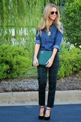 Offset the preppiness of tartan pants by pairing them with a casual, workwear-y chambray shirt