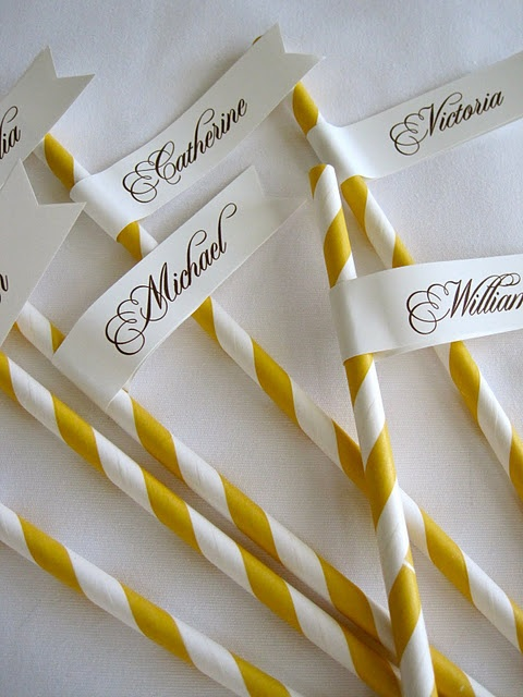 Name tags on the drinking straws is a charming idea to help everyone keep track of their drinks at a party.