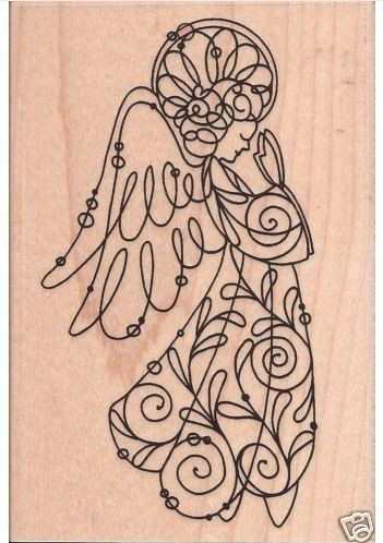Angel rubber stamp Stampendous ANGELICA WIRE ANGEL rubber stamp Christmas…