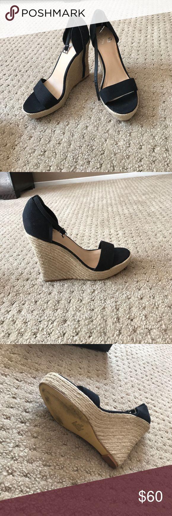 Selling this Black Strap Colin Stuart Wedges on Poshmark! My username is: heathmartinez. #shopmycloset #poshmark #fashion #shopping #style #forsale #Colin Stuart #Shoes