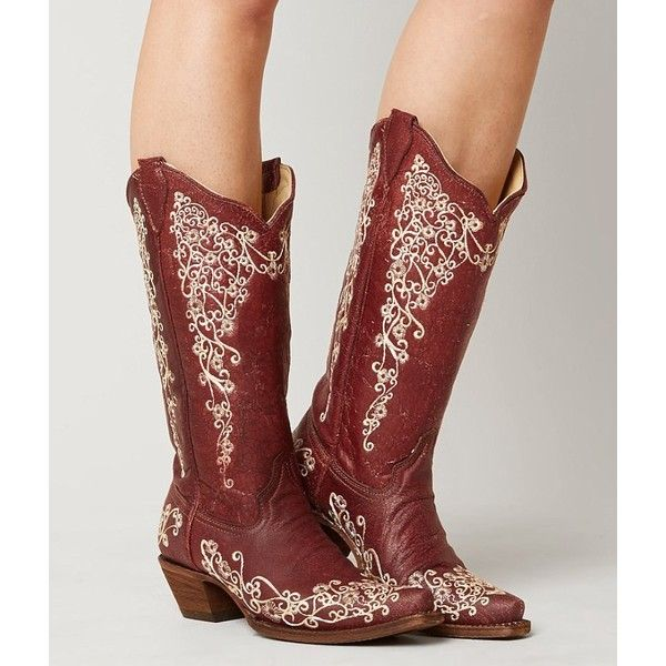 Corral Embroidered Cowboy Boot ($209) ❤ liked on Polyvore featuring shoes, boots, red, corral boots, embroidered cowboy boots, vintage boots, tall cowboy boots and red western boots