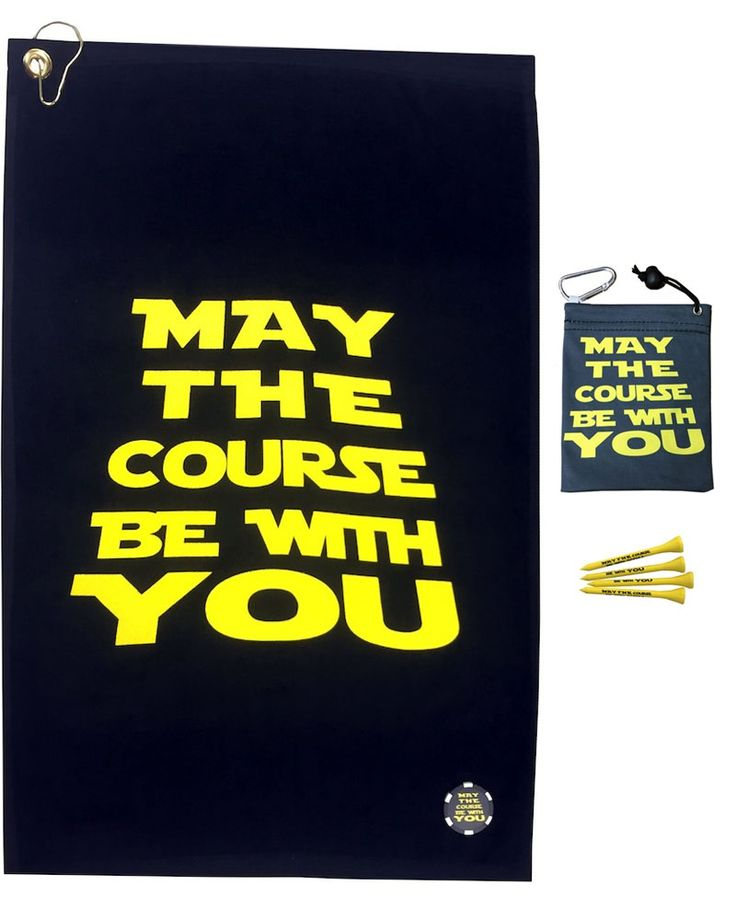 """This combo includes a May The Course Be With You Golf Towel, Poker Chip, Tee Bag and 4 Tees. The May The Course Be With You Golf Towel is 15"""" x 24"""", with a corner grommet and hook. It is a terry velour, hemmed, lightweight, 100% cotton towel. The May The Course Be With You Poker Chip is a 1.5""""D, quality, double sided printed chip with a matte finish. The fun tee bag is 4.5"""" x 5.5"""". The front and back say """"May The Course Be With You"""". It has a drawstring and a clip to hang on your bag. It is…"""