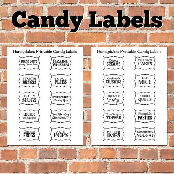 Printable Wizard Candy Labels